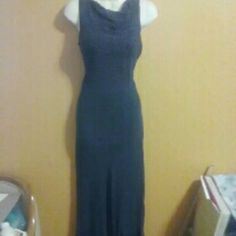 Liz Claiborne Formal Dress, size 8, New Navy blue with very small white polka dots. Lightweight and comfortable. Long, great for formal. Size 8, by Liz Claiborne. Originally $76. No tears, holes or threading coming undone. Liz Claiborne Dresses