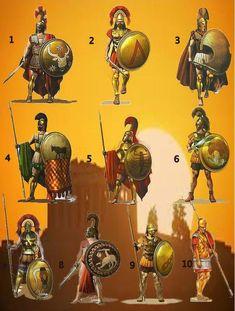 Greek Warriors - 1- Athenian Officer 2- Spartan Officer 3- Platea Hoplite 4- Athenian Hoplite 5- Spartan Hoplite 6- Elis Hoplite 7- Spartan Warrior 8- Sikyonian Mariner 9- Theban Hoplite 10 - Macedonian Falangite