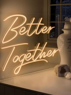 """Better Together   Beautiful Wedding Neon Sign. """"Better Together"""" Neon sign will be a great addition to a wedding ceremony, anniversary or just a gift for Valentine's Day. Create an extraordinary holiday atmosphere by lighting it with neon from the NeonFlex Studio :) Follow us in Instagram -> instagram.com/_neonflex Cream Aesthetic, Gold Aesthetic, Classy Aesthetic, Aesthetic Collage, Aesthetic Anime, Aesthetic Backgrounds, Aesthetic Iphone Wallpaper, Aesthetic Wallpapers, Neon Quotes"""