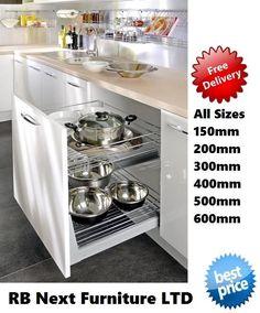 Pull Out Kitchen Basket Storage Self Soft Close 150 200 300 400 500mm 2311