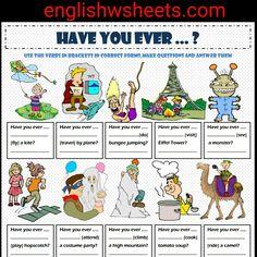 Present Perfect Tense - Have You Ever ...? Esl Printable Grammar Exercise Worksheet For Kids #present #perfect #tense #presentperfect #perfecttense #have #ever #experiences #esl #efl #tefl #esol #tesol #grammar #Exercise #worksheet #grammarworksheet #grammarexercise #languagearts #englishwsheets #englishgrammar #eslgrammar #forkids #kids