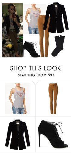 """""""My OOTD"""" by mack-et-la-mode ❤ liked on Polyvore featuring GUESS, Amapô, Yves Saint Laurent and Falke"""