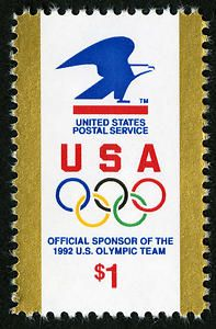 The United States Postal Service was one of the official sponsors of the 1992 Winter and Summer Olympic Games, and it issued this stamp to celebrate.
