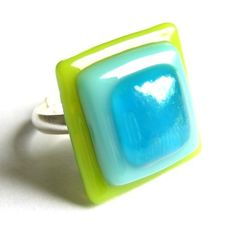 Lime-turquoise squares fused glass ring