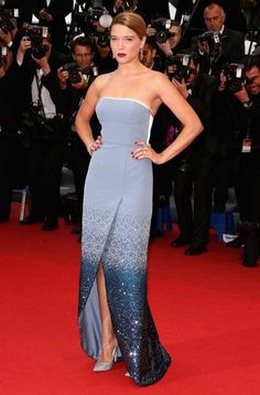 Lea Seydoux hit the red carpet for the premiere of Grand Central wearing a custom-made Louis Vuitton gown boasting a sparkling skirt and teamed with silver pumps #Cannes2013