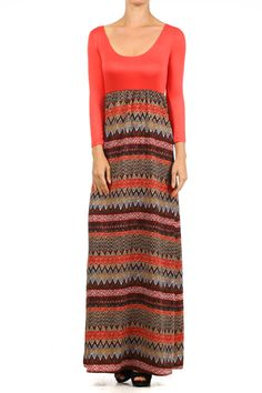 Duo-fabric, 3/4ths sleeve maxi dress with boho printed bottom.