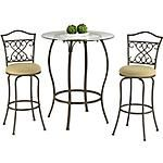 "Quaint and sophisticated, our Main Street 3-Piece Bistro Set is the answer to your entertainment needs.  This beautiful 3-piece bistro package includes a 39"" round Table and two upholstered Stools.   Features an elegant glass top.  This stool has an intricate scrolling metal design.  Soft as suede® microfiber seat cushion.  View our full assortment of Main Street Bistro and Bar Sets online"