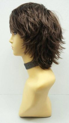 This Short Layered Wind Blown Shag Style Brown Cosplay Wig. is just one of the custom, handmade pieces you'll find in our wigs shops. Short Shag Hairstyles, Short Pixie Haircuts, Hairstyles With Bangs, Straight Hairstyles, Pretty Hairstyles, Layered Haircuts For Women, Chin Length Hairstyles, Sassy Haircuts, Thin Hair Haircuts