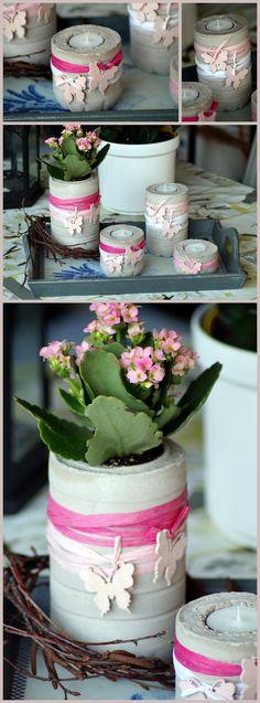 """Teelichthalter und """"Vase"""" aus Beton"""