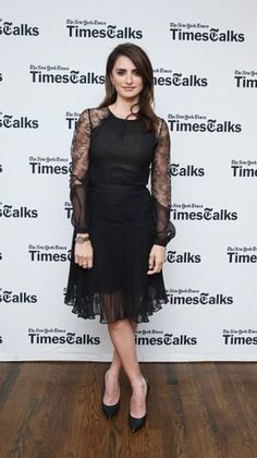 #PenelopeCruz in our #Resort17 black silk chiffon and lace dress at TimesTalks to discuss Ma Ma.