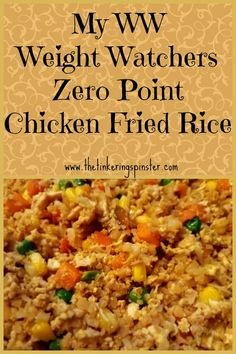 Weight Watchers Recipes Discover My WW Zero Point Chicken Fried Rice Enjoy this chicken fried rice recipe using riced cauliflower instead of the traditional rice. It is zero points on the Weight Watchers Freestyle program! Weight Watcher Dinners, Weight Watchers Program, Weight Watchers Meal Plans, Weight Watchers Diet, Weight Watchers Meatloaf, Weight Watchers Pancakes, Weight Watchers Casserole, Weight Watchers Breakfast, Weight Watchers Desserts
