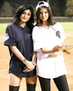 Kylie and Kendall Jenner attend a celebrity charity kickball game on July 19, 2014.