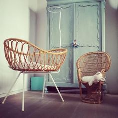 Located using retrostart.com > Cradle and Child Chair Children Furniture by Unknown Designer for Unknown Manufacturer