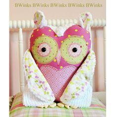Stuffed owl  - Plush Owl - Owl Stuffed Pillow - Girl - Pink -  BIG BWinks Handmade Owl - No. 5. $42.00, via Etsy.