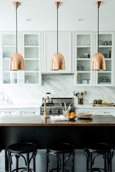 Copper pendants - stunning with a backdrop of white or dark grey bespoke kitchen cabinets | Middleton Bespoke | www.middleton-bespoke.co.uk