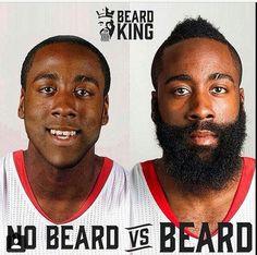 Jamea Harden beard vs no beard