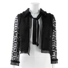 Chanel Black Tweed & Lace Beaded Jacket - $2,499.99