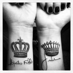 His and Her Crown Tattoos | Crown Matching Tattoos