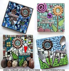 mixed media mosaic handmade art starbucks coffee art