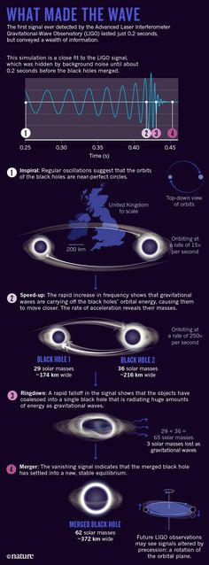 Infographic on the gravitational waves discovered by LIGO when two black holes merged.