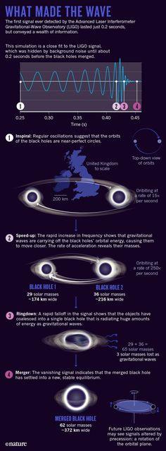 1. gravitaatioaaltohavainnon mustat aukot – koko, etäisyys yms. – Scientific American #infografiikka