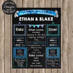 Olaf Custom Twin Birthday Chalkboard Sign - Frozen Themed Birthday - Printable Twin Birthday Poster - Joint Birthday Poster - Digital Print