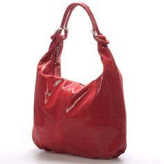c1ff0f7e48  elegance Červená elegantně sportovní lesklá kožená kabelka ItalY. Měkká  kůže ve tvaru vaku se