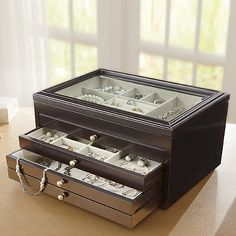 Wooden Jewelry Box with Glass Top