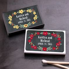 Vintage Blossoms Chalkboard Matchboxes - 50 pcs - Garden Theme Wedding Favors - Wedding Favor Themes - Wedding Favors & Party Supplies - Favors and Flowers