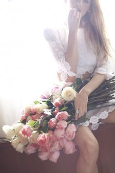 white lace dress, ROSES!