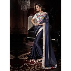 Navy Blue Floral Saree