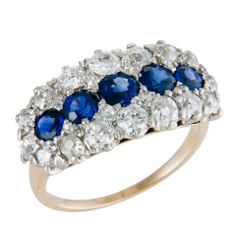 Fine Antique Diamond & Sapphire Ring