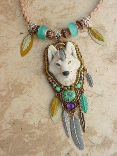 White Wolf Necklace. freespiritheidi on Etsy.  Heidi Kummli