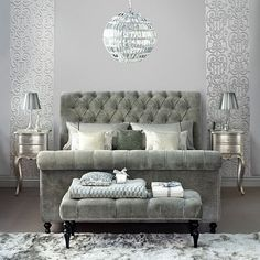 Silver bedroom with upholstered sleigh bed | Decorating with precious metals | housetohome.co.uk