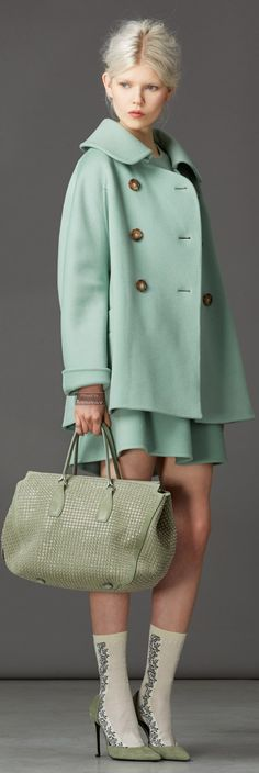 Mint green?! Love it or hate it?  Ermanno Scervino - mint green - Pre Fall 2014  We love this look! Get a deal on the season's hottest looks! bit.ly/1lfm3AF
