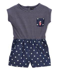 Peacoat Stripe & Dots Romper - Infant Toddler & Girls