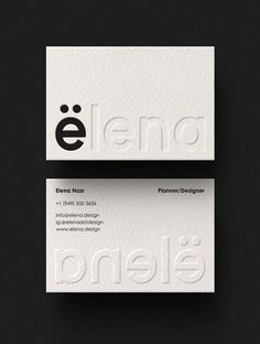 Elena Brand Identity - Mindsparkle Mag You are in the right place about Logo Design clothing Here we Business Cards Layout, Minimal Business Card, Letterpress Business Cards, Minimal Logo, Identity Card Design, Name Card Design, Stationary Design, Brochure Design, Business Card Design Inspiration