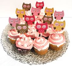 Items similar to 12 Owl Girl Themed Cupcake Toppers Birthday Party or Baby Shower - Woodland on Etsy Baby Shower Cupcake Toppers, Cupcake Party, Party Cakes, Owl Party Decorations, Baby Shower Table Decorations, Owl Birthday Parties, 8th Birthday, Birthday Ideas, Birthday Cake