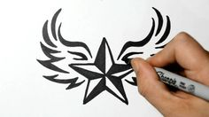 How to Draw a Nautical Star with Wings - Tribal Style - TattooDesigns. Tattoo Design For Hand, Family Tattoo Designs, Unique Tattoo Designs, Dragon Tattoo Designs, Tribal Tattoo Designs, Tattoo Designs And Meanings, Heart Tattoo Designs, Tattoo Drawings Tumblr, Badass Drawings