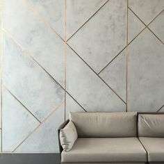 One of our favorites, polished marmorino applied flush with brushed copper inlays at the Oasia Downtown Hotel. WOHA and Studio Patricia Urquiola. Feature Wall Design, Tv Wall Design, Door Design, House Design, Interior Walls, Home Interior Design, Interior Architecture, Wall Cladding Interior, Wall Cladding Designs