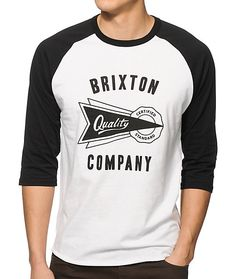 Cop a certified fresh style with a Brixton Certified Standard logo graphic on a white body with accenting black 3/4 length raglan sleeves.