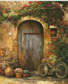 Paul Guy Gantner image by maat-nefer - Photobucket Rose, Painting, Cards, Pink, Roses Pictures To Paint, Art Pictures, Beautiful Places, Beautiful Pictures, Old Doors, Front Doors, Painted Doors, Doorway, Beautiful Paintings