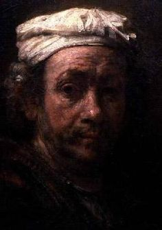 Rembrandt van Rijn - Portrait of the Artist at His Easel, detail of the face