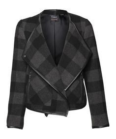 Look what I found on #zulily! Black & Charcoal Plaid Wool-Blend Moto Jacket #zulilyfinds