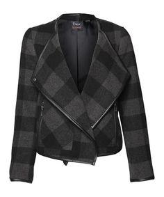 Black & Charcoal Plaid Wool-Blend Moto Jacket #zulily #zulilyfinds