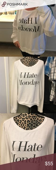 Great cond WILDFOX I hate Mondays jumper Super cute great condition worn a few times still looks new size medium oversized fit white with black writing authentic Wildfox Couture Sweaters Crew & Scoop Necks