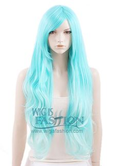 80CM Heat Resistant Long Wavy Blue Fashion Hair Wig MY192 Style Code: MY192 Color: Blue Size: One size Length: 31.5 inches or 80 cm Material: Japanese synthetic fiber Heat Resistant: 150C Heat Resistant