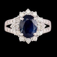 RING, vitguld, safir, briljantslipade diamanter