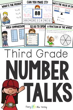 Third Grade Number Talks - (Digital and Printable) Yearlong Program 3rd Grade Words, Third Grade Math, Fifth Grade, Grade 3, Math Lesson Plans, Math Lessons, Daily 5 Math, Number Talks, Math Talk