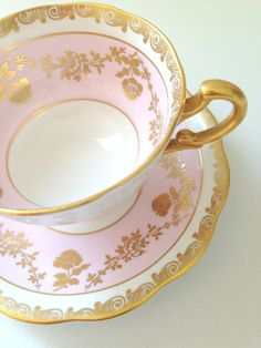 Vintage English Royal Standard Pastel Pink and Goldtone Cartouche Teacup and Saucer Fine Bone China Tea Party on Etsy, $84.62 CAD
